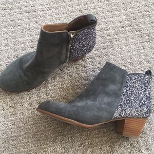 Anthropologie glitter back booties